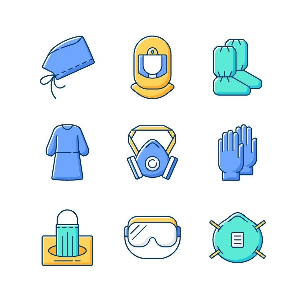 Medical disposable covers RGB color icons set vector