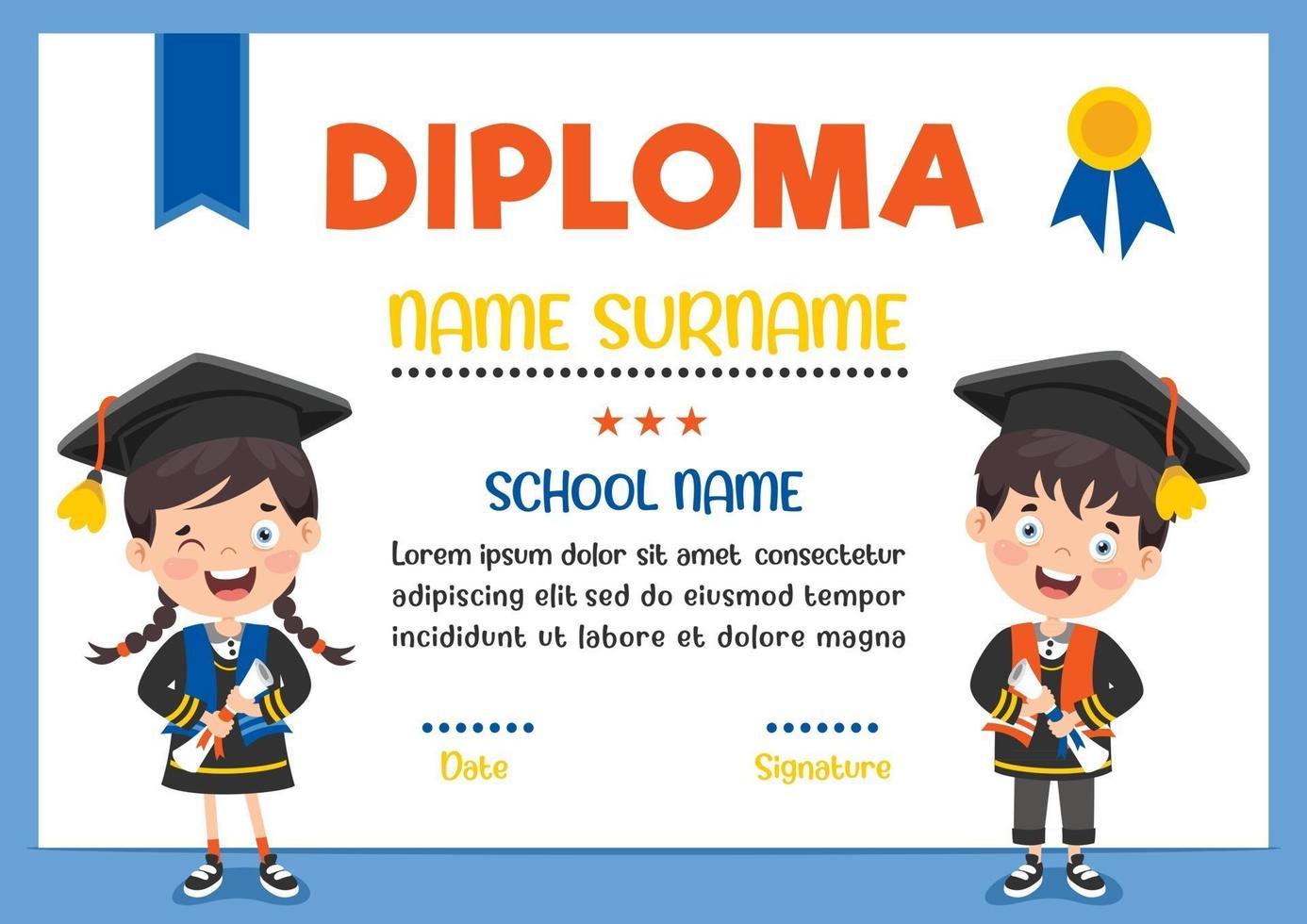 Diploma Certificate For Preschool And Elementary School Kids vector