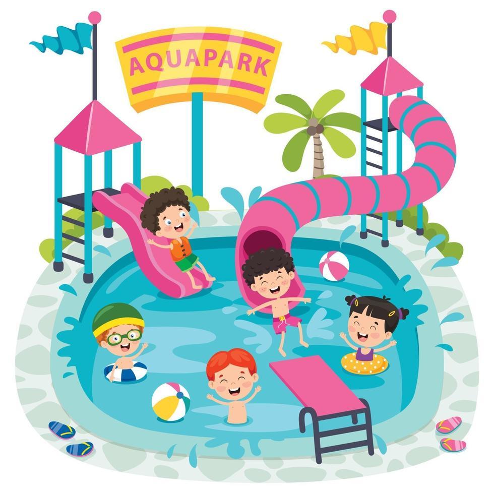 Children Swiimming In An Aqua Park vector