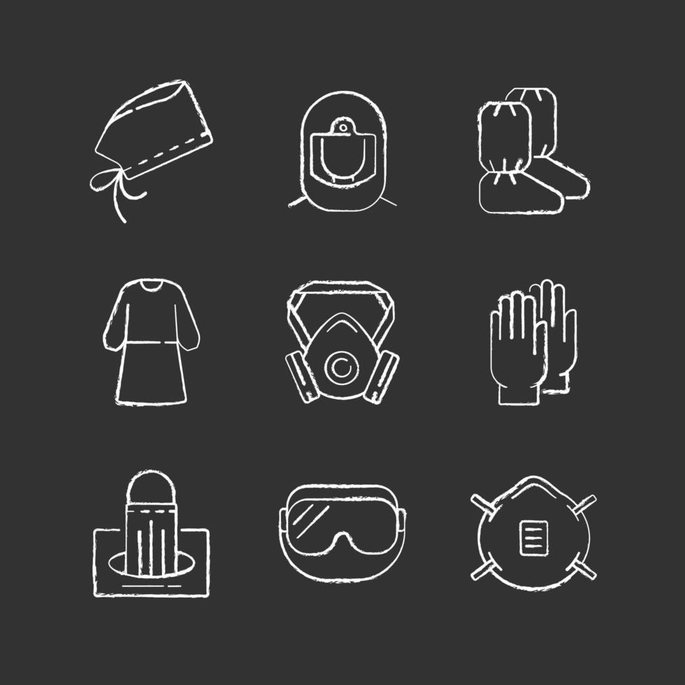 Medical disposable covers chalk white icons set on black background vector