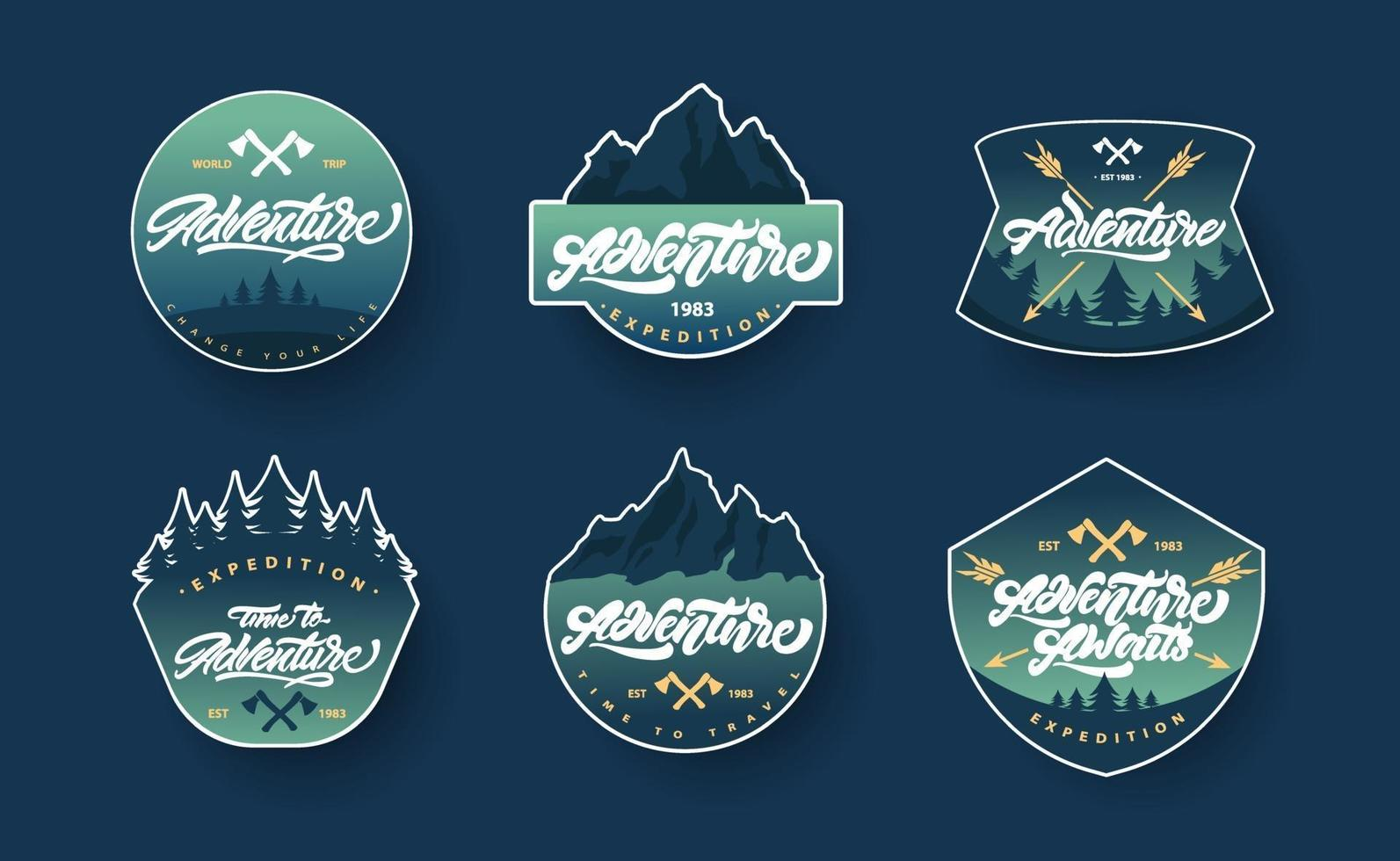 Adventure lettering set logos or emblems with gradient vector