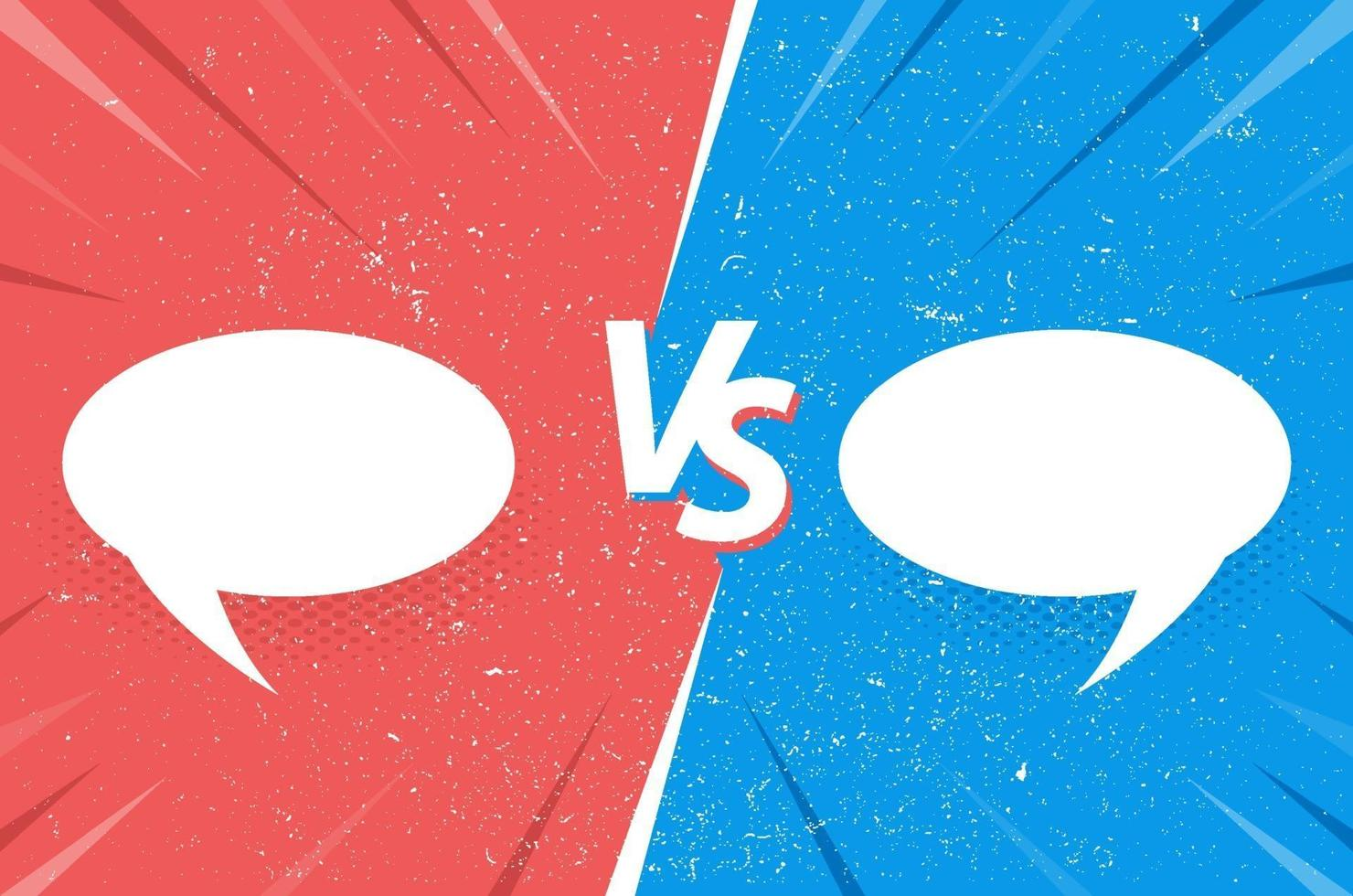 Versus comic frame with grange texture and speech bubbles vector