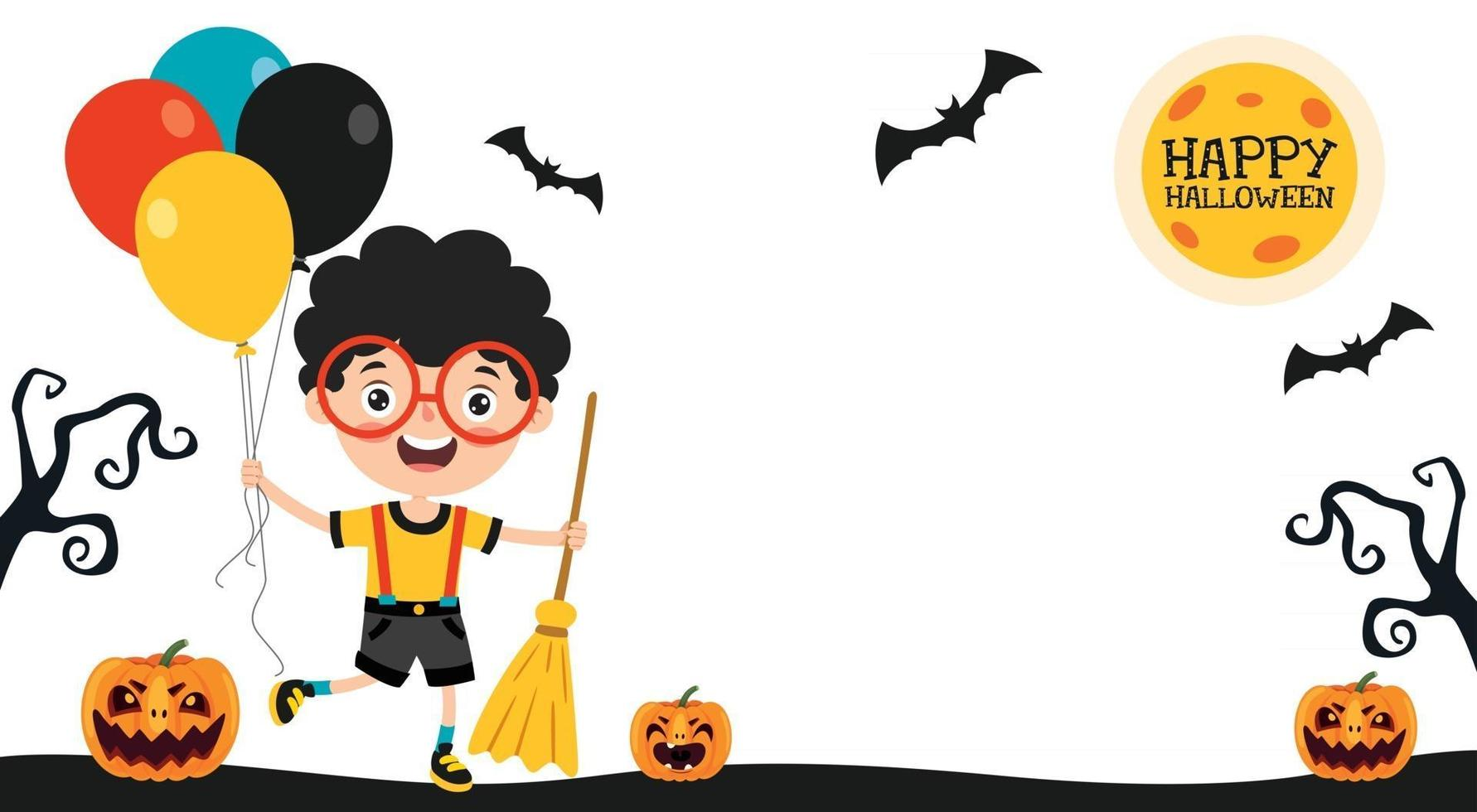Halloween Concept With Funny Character vector