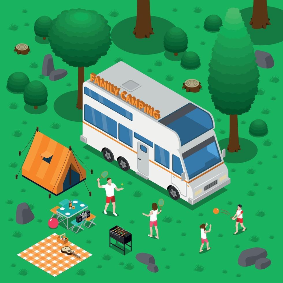 Ilustración de vector de concepto isométrico de camping