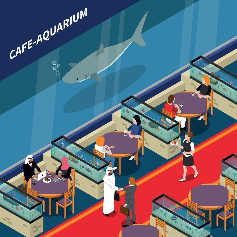 Cafe Aquarium Isometric Composition Vector Illustration