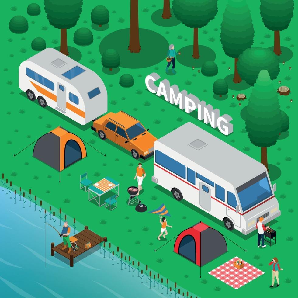 Ilustración de vector de ilustración de concepto de camping