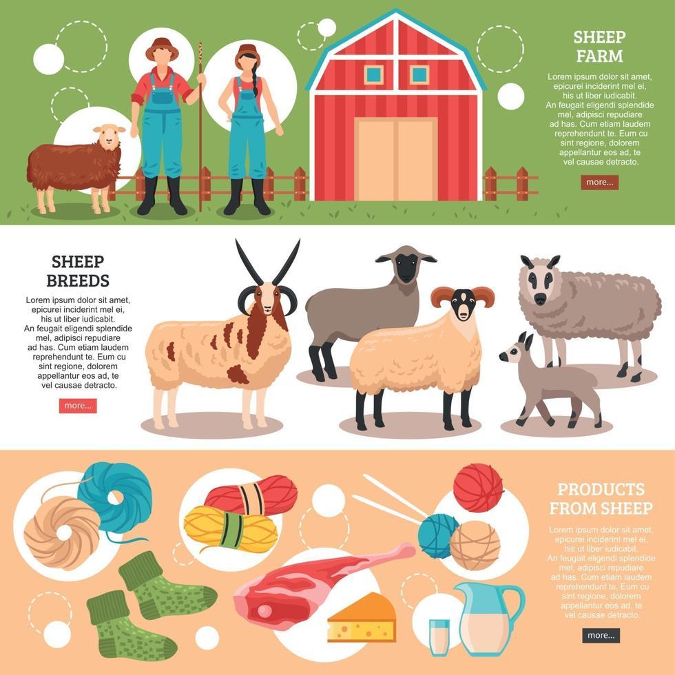 Sheep Breeding Flat Banners Vector Illustration