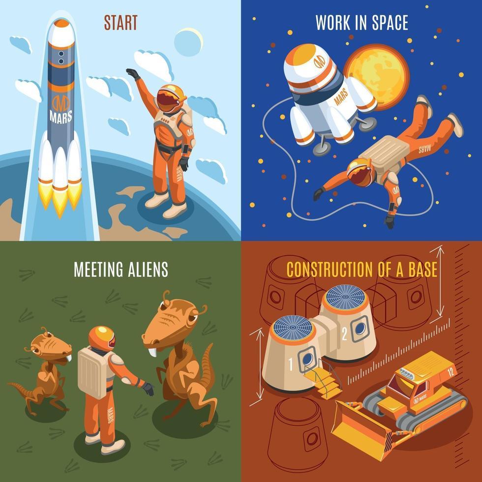 Space Exploration Isometric Design Concept Vector Illustration