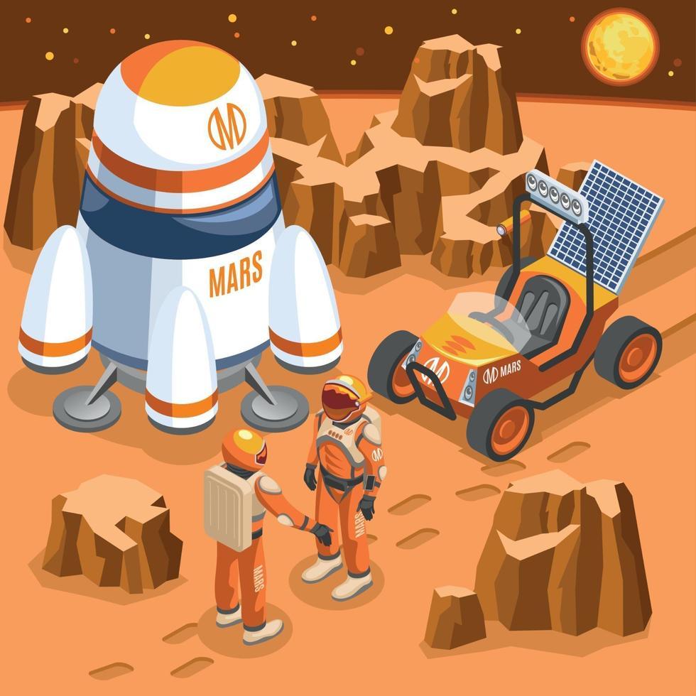 Mars Exploration Isometric Illustration Vector Illustration