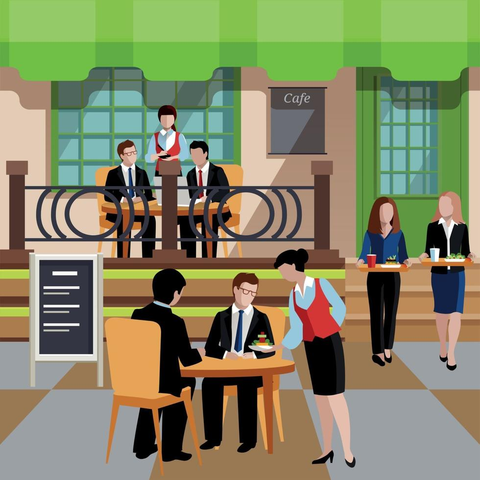 Flat Business Lunch People Concept Vector Illustration