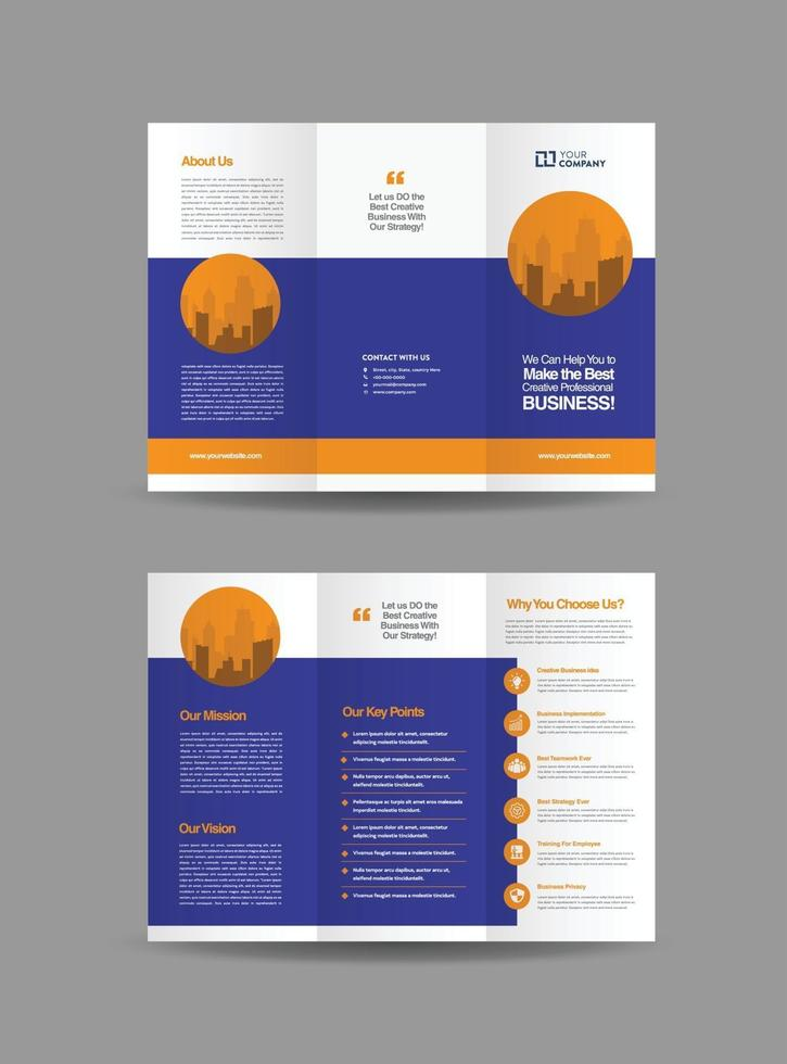Business Trifold Brochure Design or Three Folded Advert or Handout Design vector
