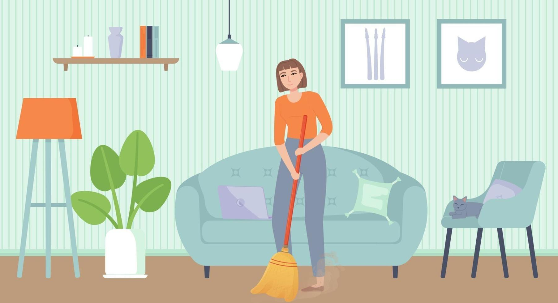 Girl sweeping floor Home chores household duties cleaning concept Stock vector illustration in flat cartoon style