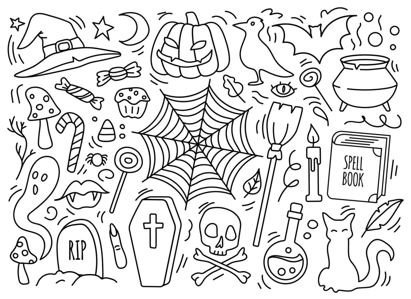Hand drawn Halloween occult attributes icon set vector