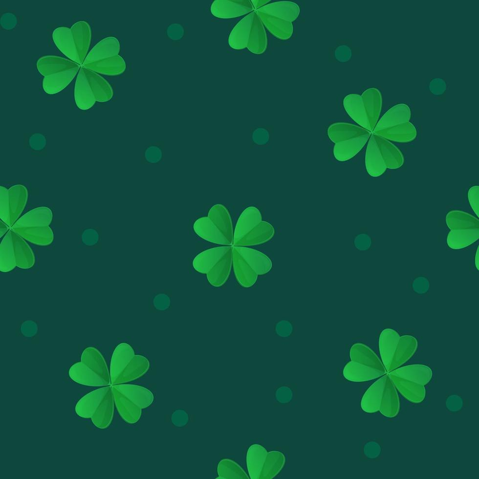 Saint Patrick Day green clover seamless pattern  Can be used as fabric texture  background  wrapping paper print  wallpaper  Stock vector illustration in realistic cartoon style