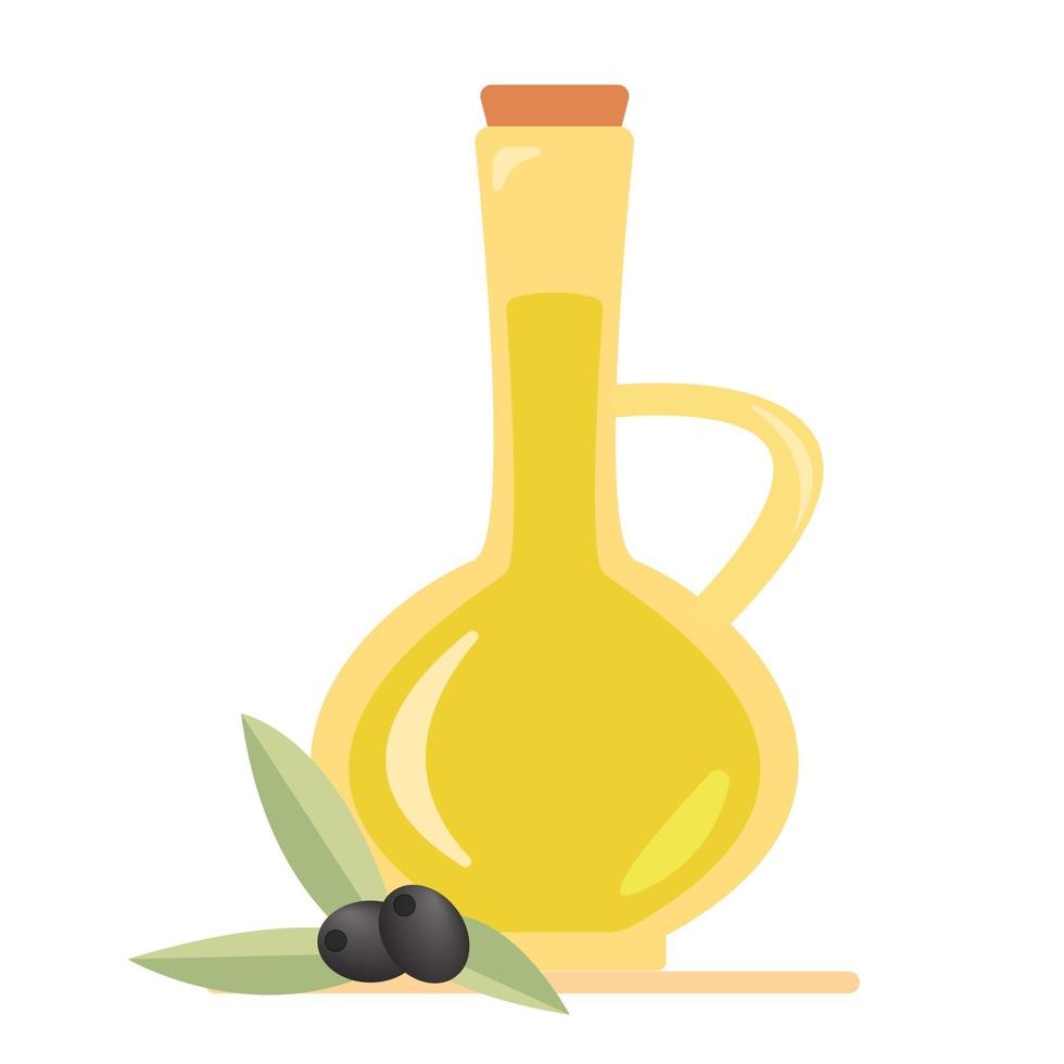 Olive oil in a jug and olives and olive branches Isolated vector illustration icon symbol object sticker design element for menu poster label packaging