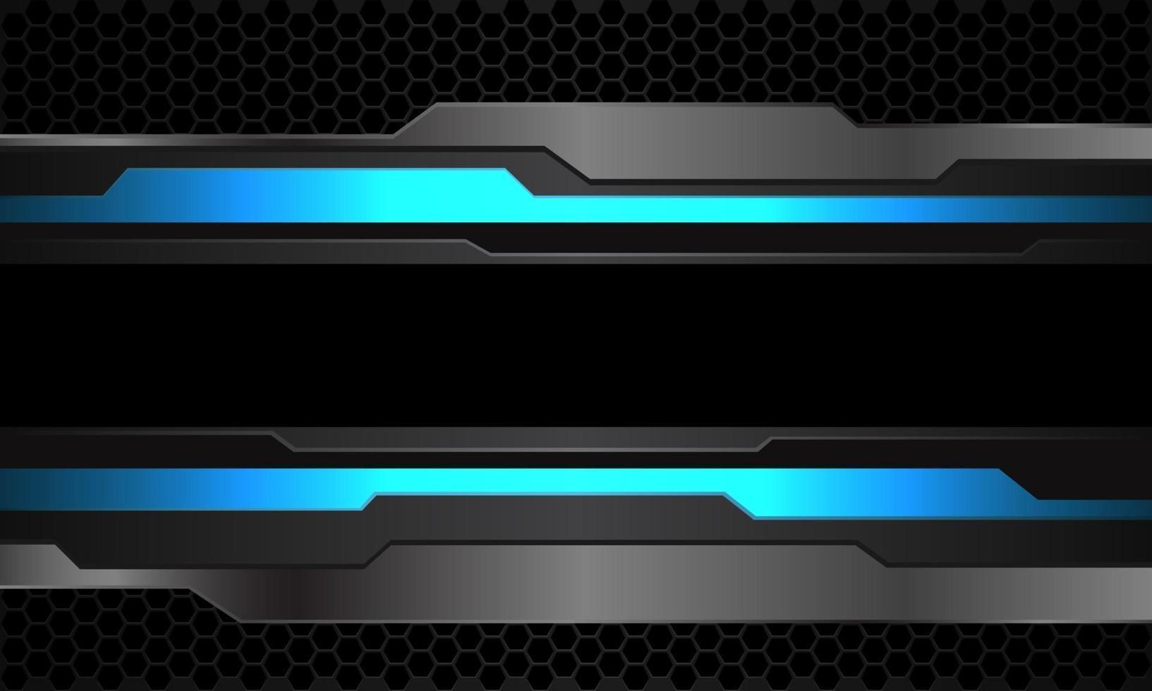 Abstract blue neon grey metallic cyber black line banner on dark hexagon mesh pattern design modern futuristic technology background vector illustration