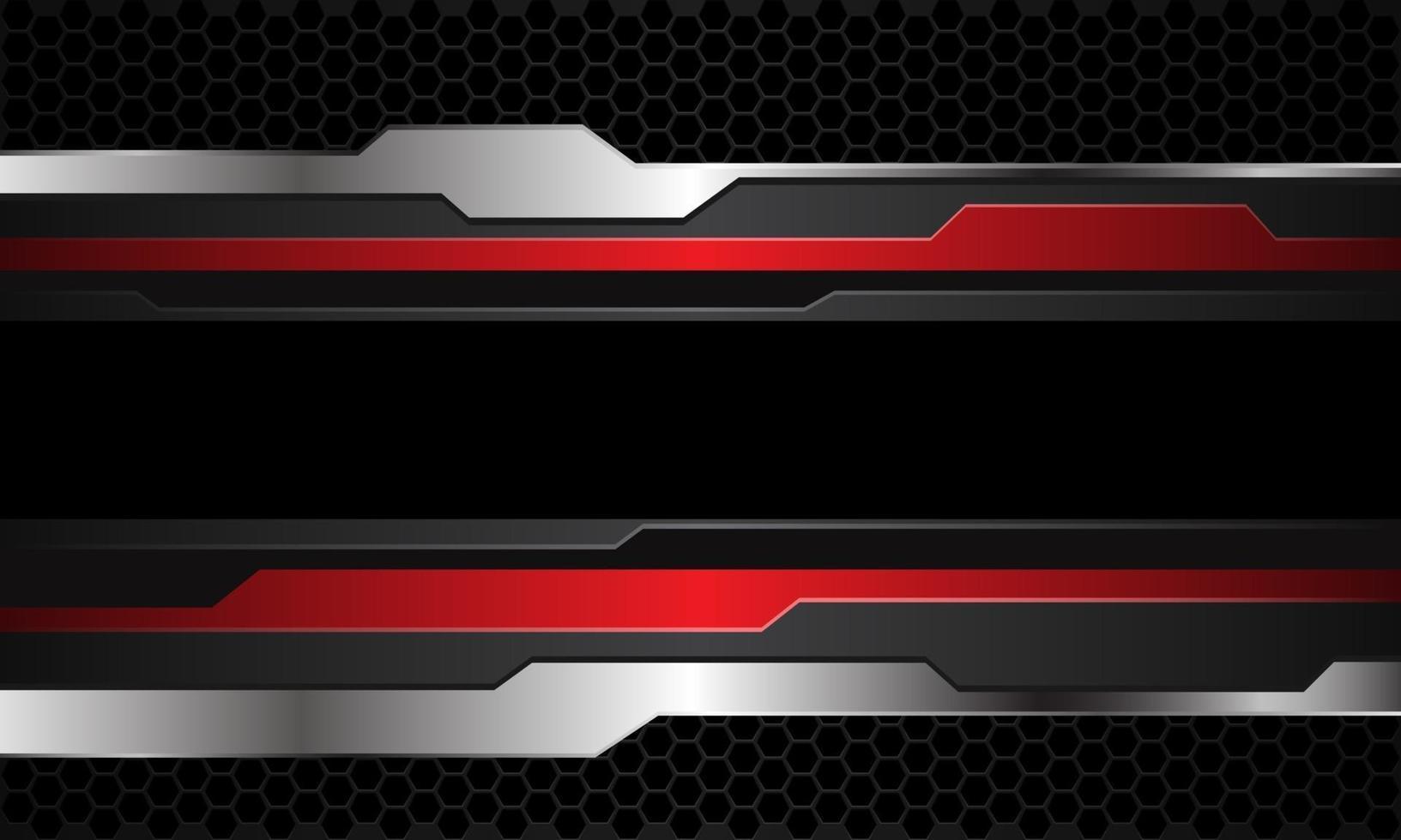 Abstract red grey silver cyber black line banner on dark hexagon mesh pattern design modern futuristic technology background vector illustration