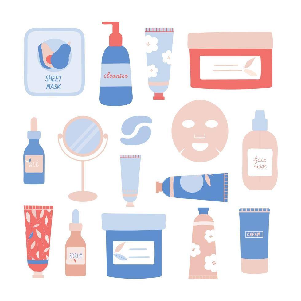 Set of Skincare Products and Tools Vector Illustration