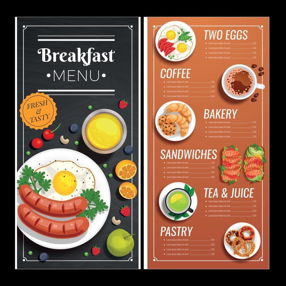 Menu Design For Cafe And Restaurant Vector Illustration