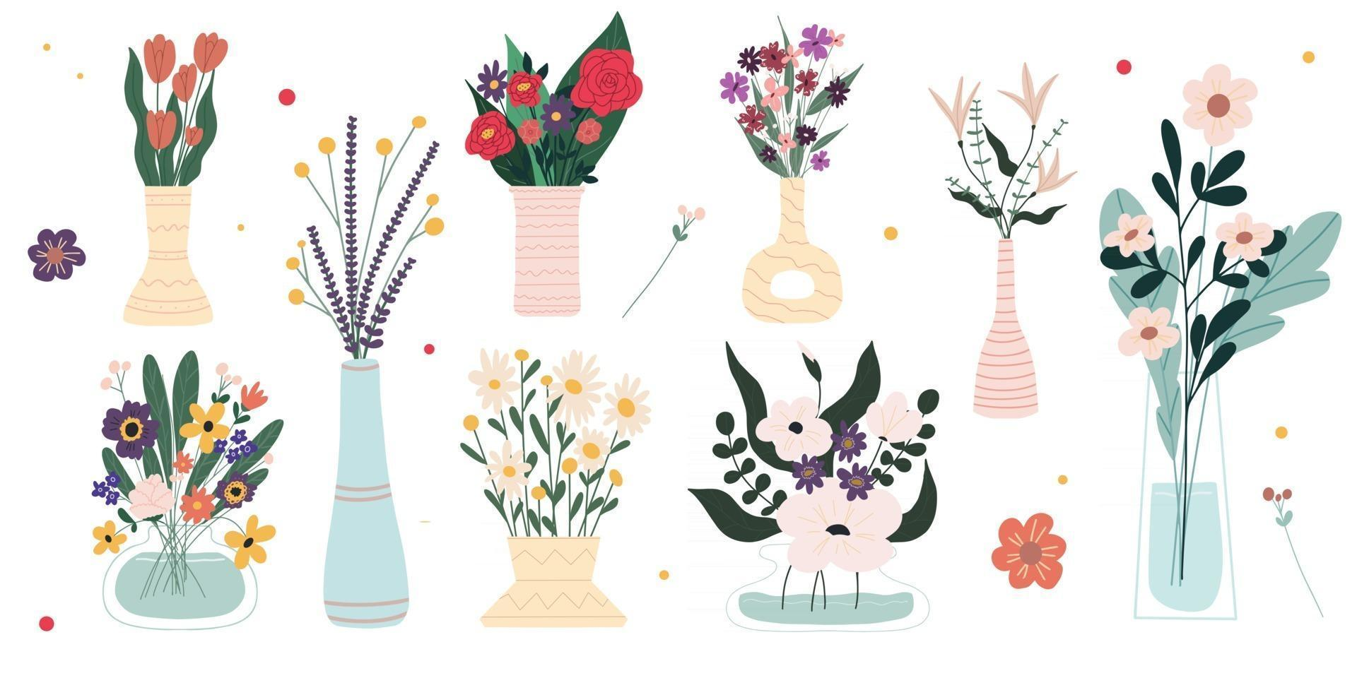 Set of bright spring blooming flowers in vases and bottles isolated on a white background A bunch of bouquets Set of decorative floral design elements Cartoon flat vector illustration