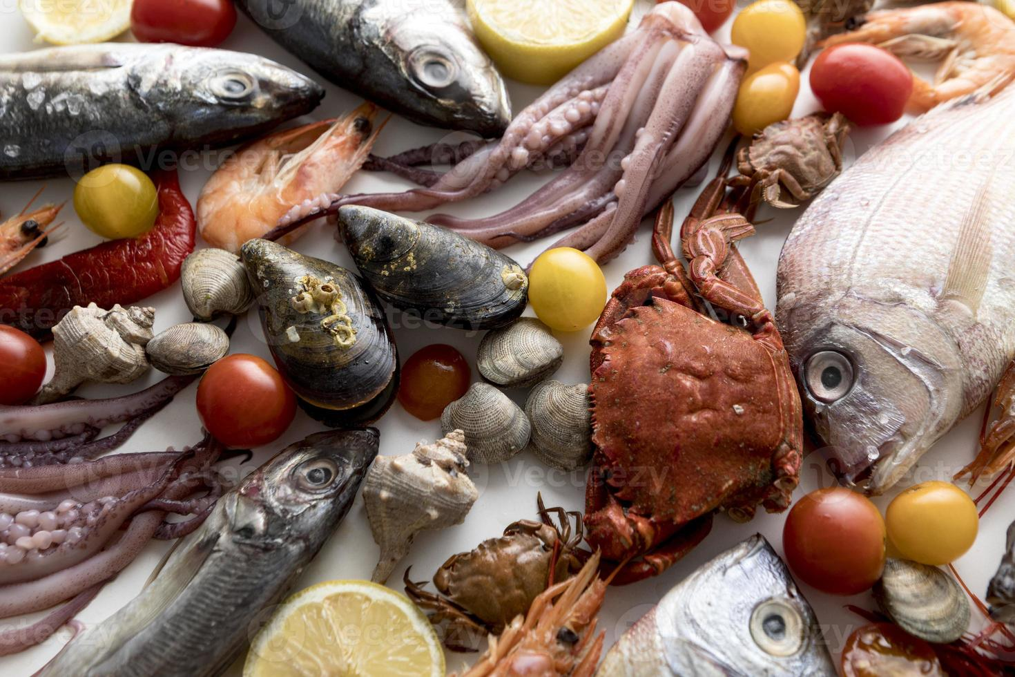 Top view assortment of seafood with tomatoes photo