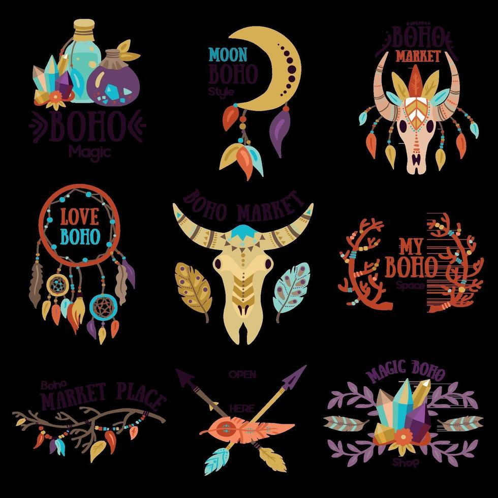 Boho Emblems Set Vector Illustration