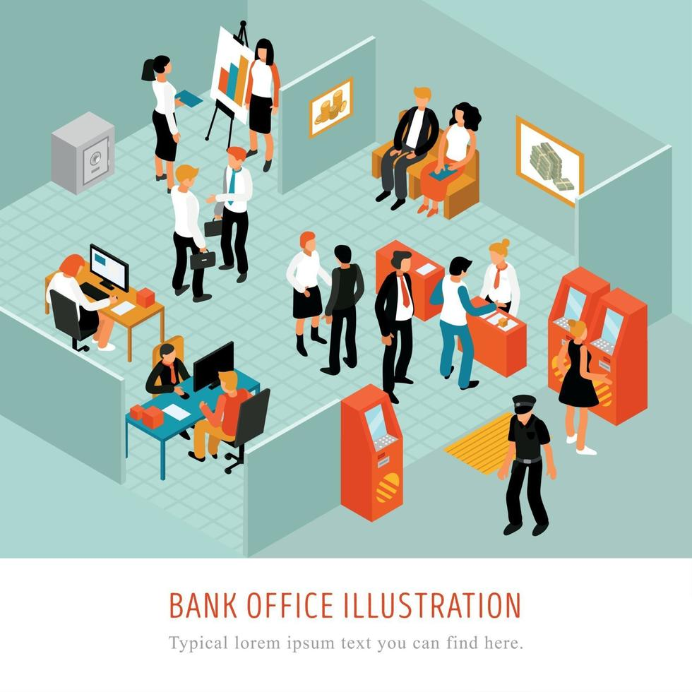 Bank Office Isomeric Composition Vector Illustration