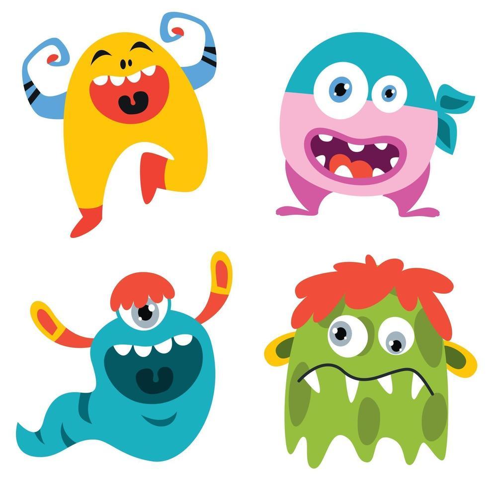 Set of funny cartoon monsters vector