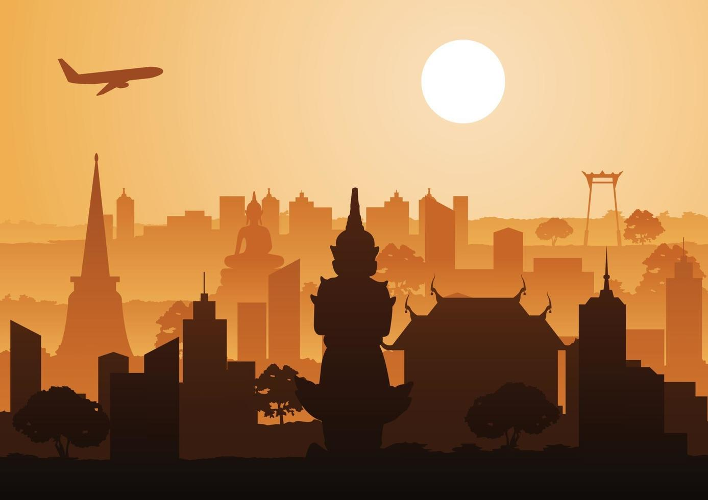 Thailand landmarks in silhouette design vector