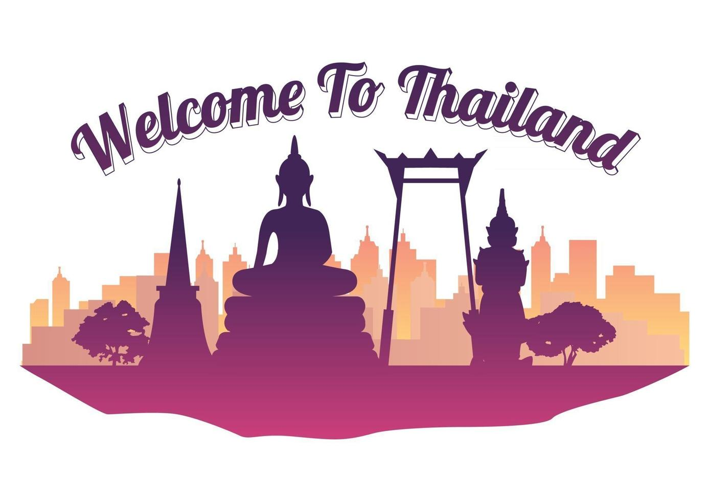 Thailand top famous landmark silhouette style on island  famous landmark silhouette style vector
