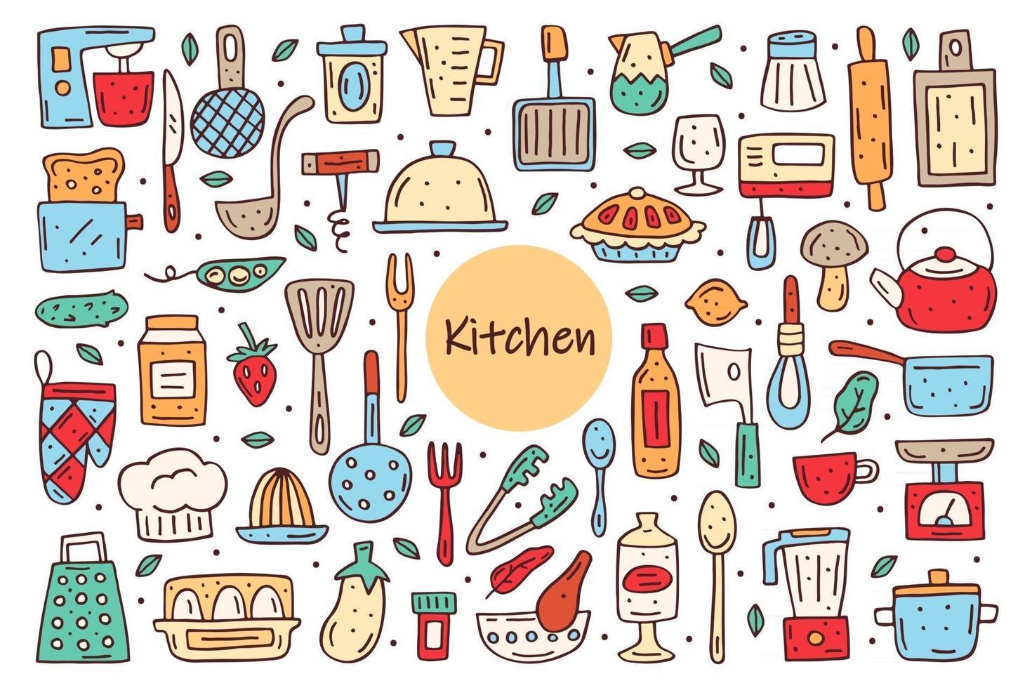 Kitchen elements cute doodle hand drawn vector clipart