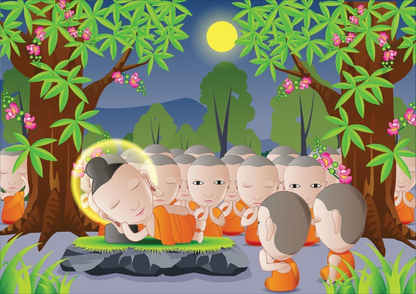 Buddha's death under tree vector