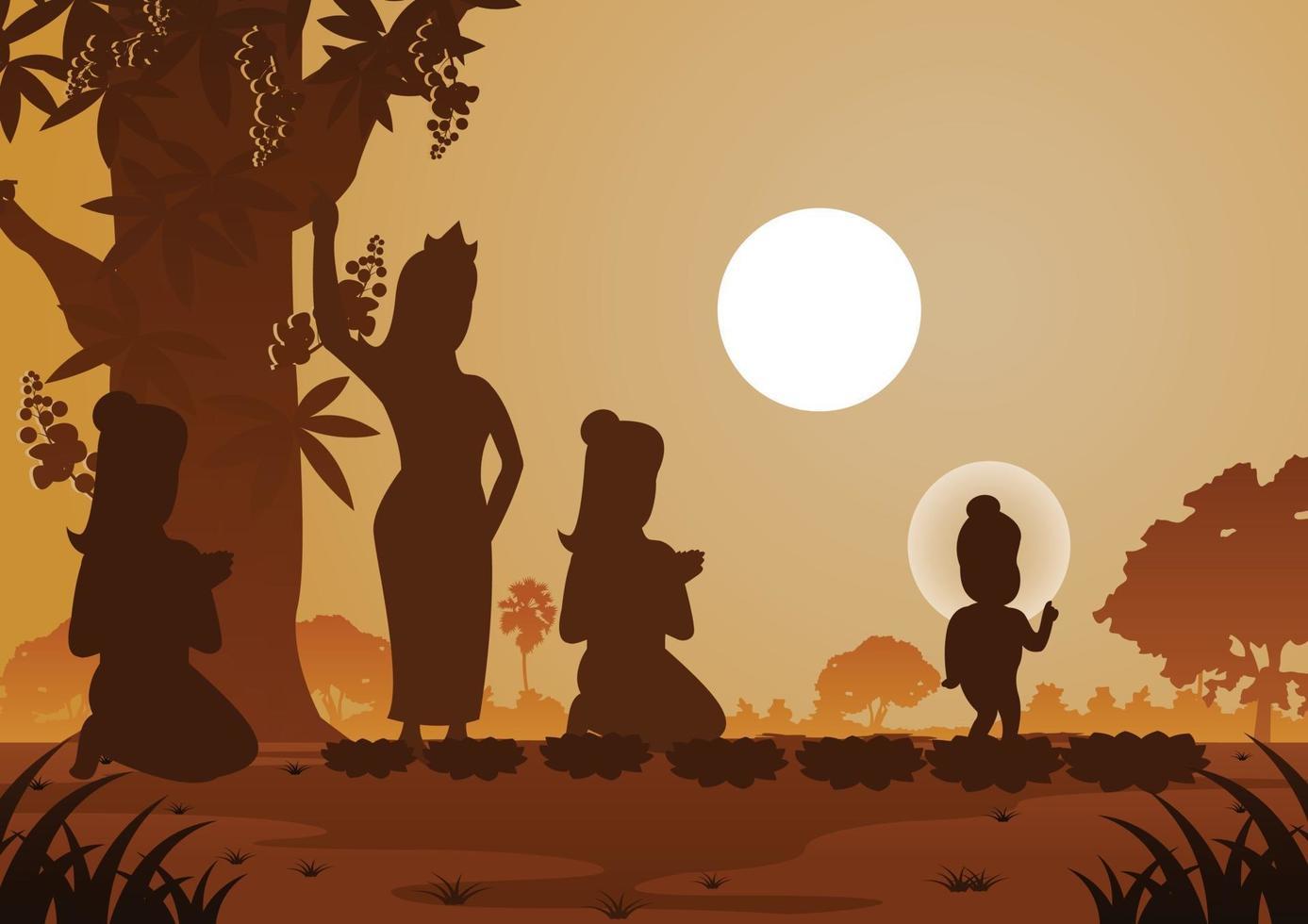 Story of Buddha born under a tree vector