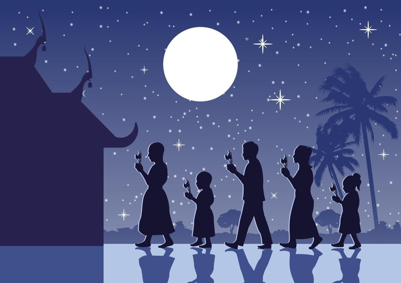 People walking with candles near temple vector
