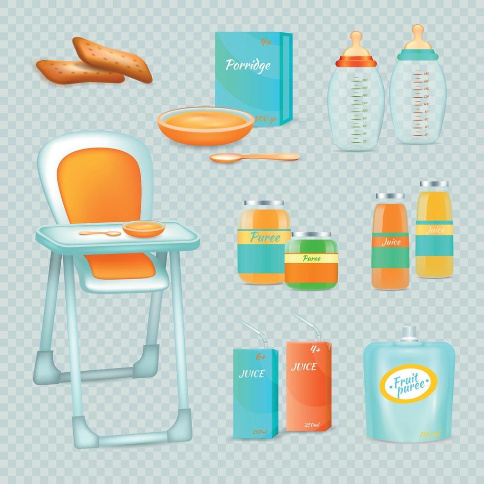 Feeding Infant Set Vector Illustration