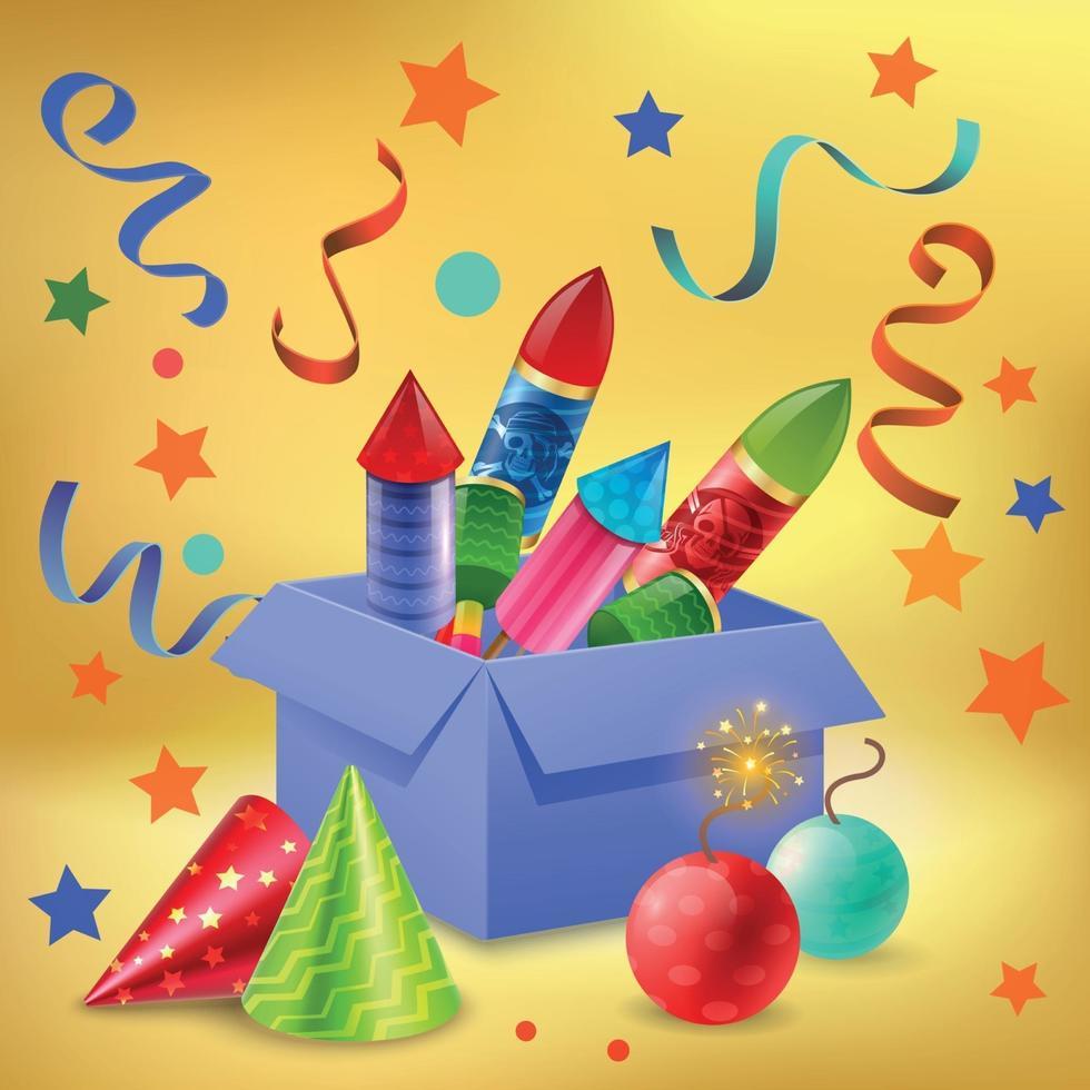 Gift Box Firecrackers Composition vector