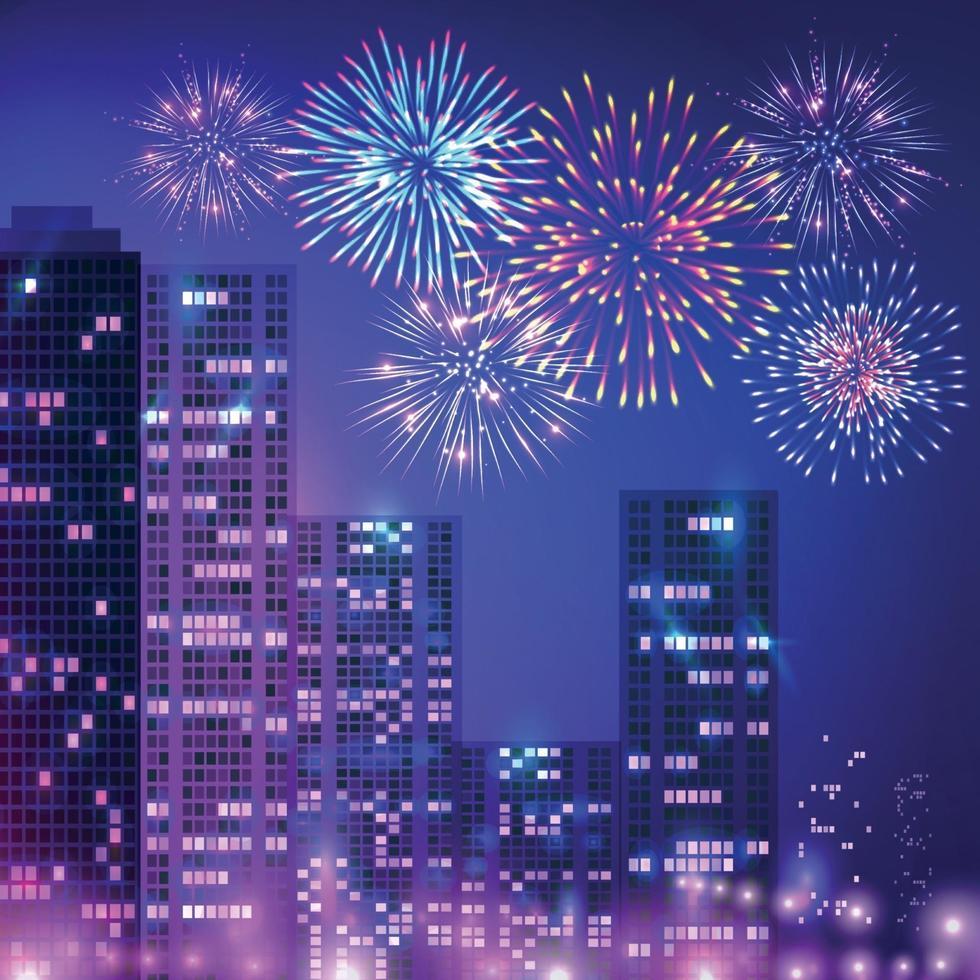 Big City Fireworks Composition vector