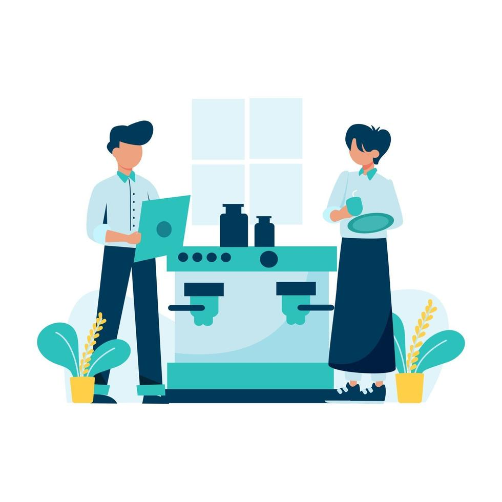 Barista serves customers in the coffee shop vector illustration