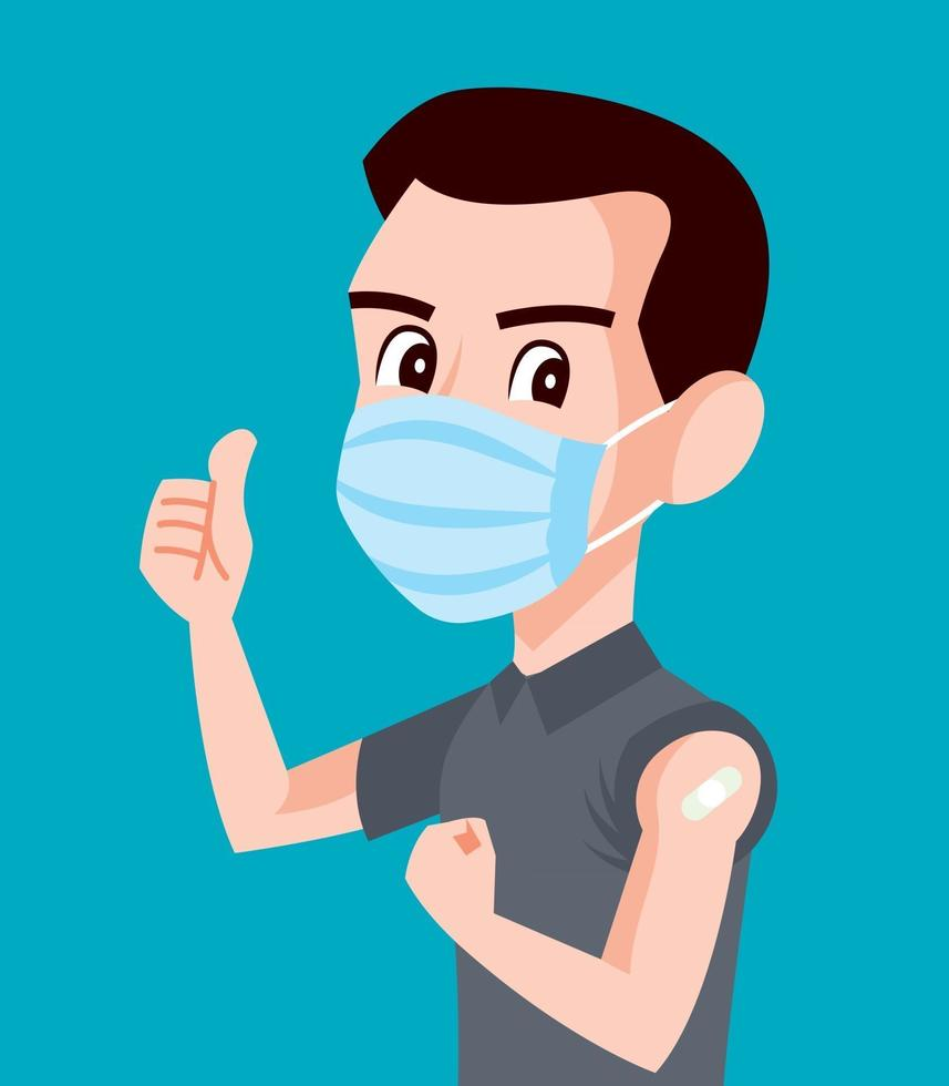 Strong Man wearing surgical mask showing vaccinated arm and good well hand sign vector