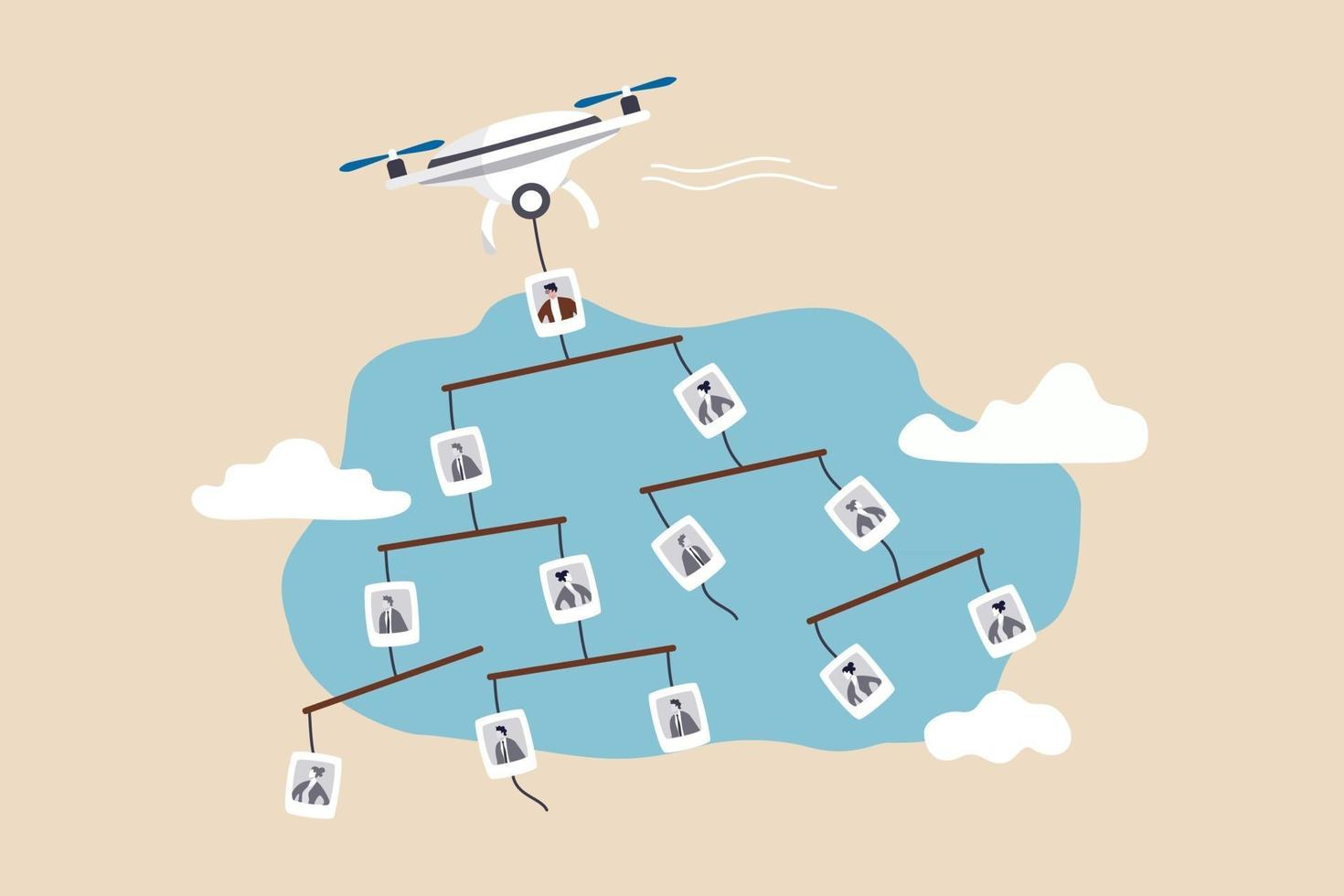 Management team or employees tree and hierarchy working level concept flying drone carrying mobile company org chart in the sky vector