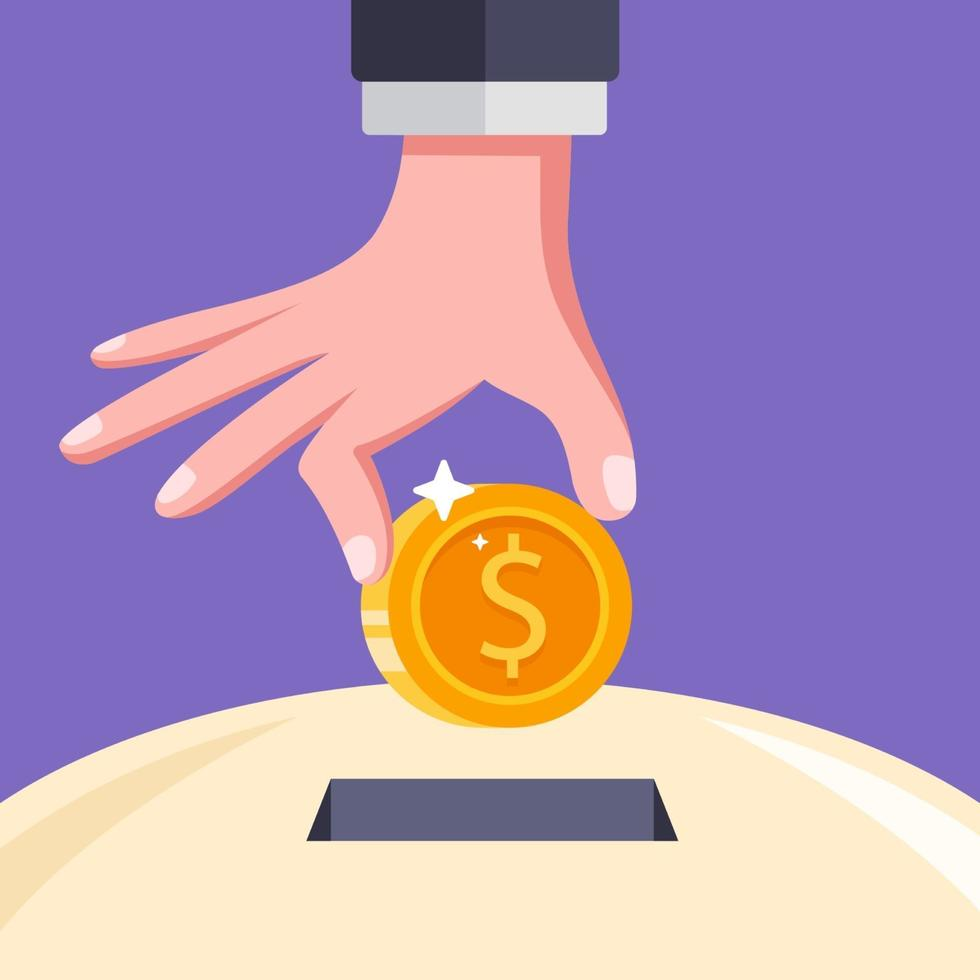 put a coin in the slot to save money flat vector illustration