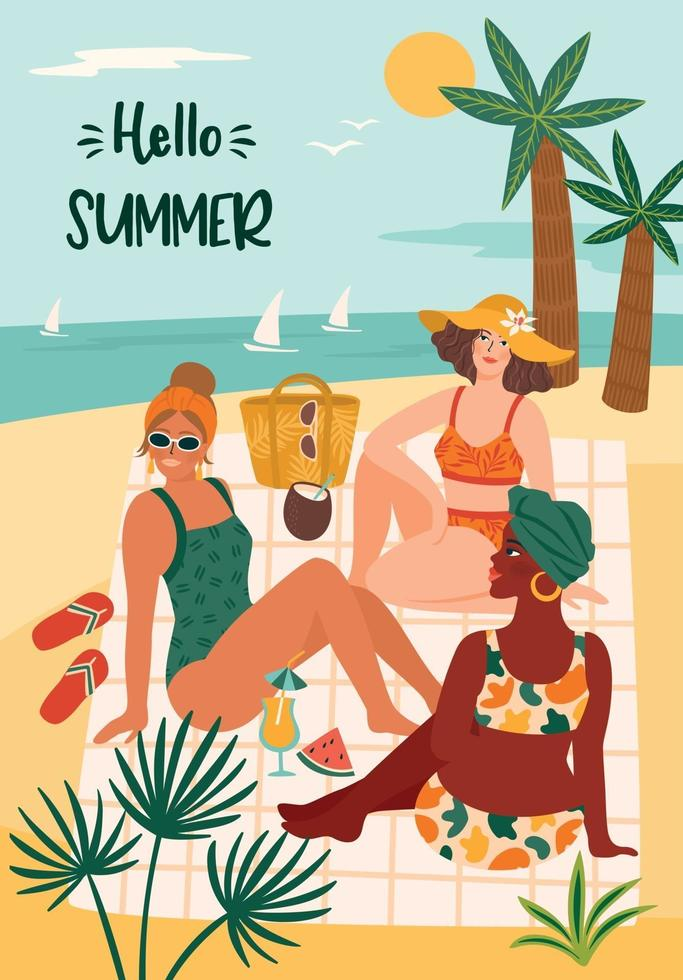 Vector illustration of woman in swimsuit on tropical beach. Summer holliday vacation travel