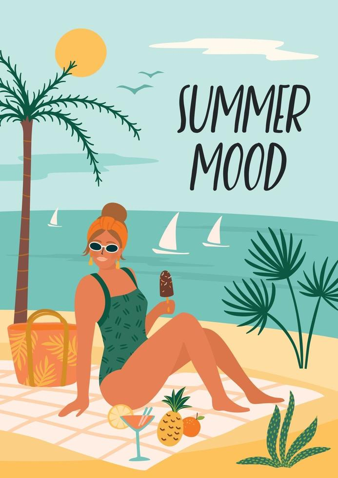Vector illustration of woman in swimsuit on tropical beach. Summer holiday vacation travel