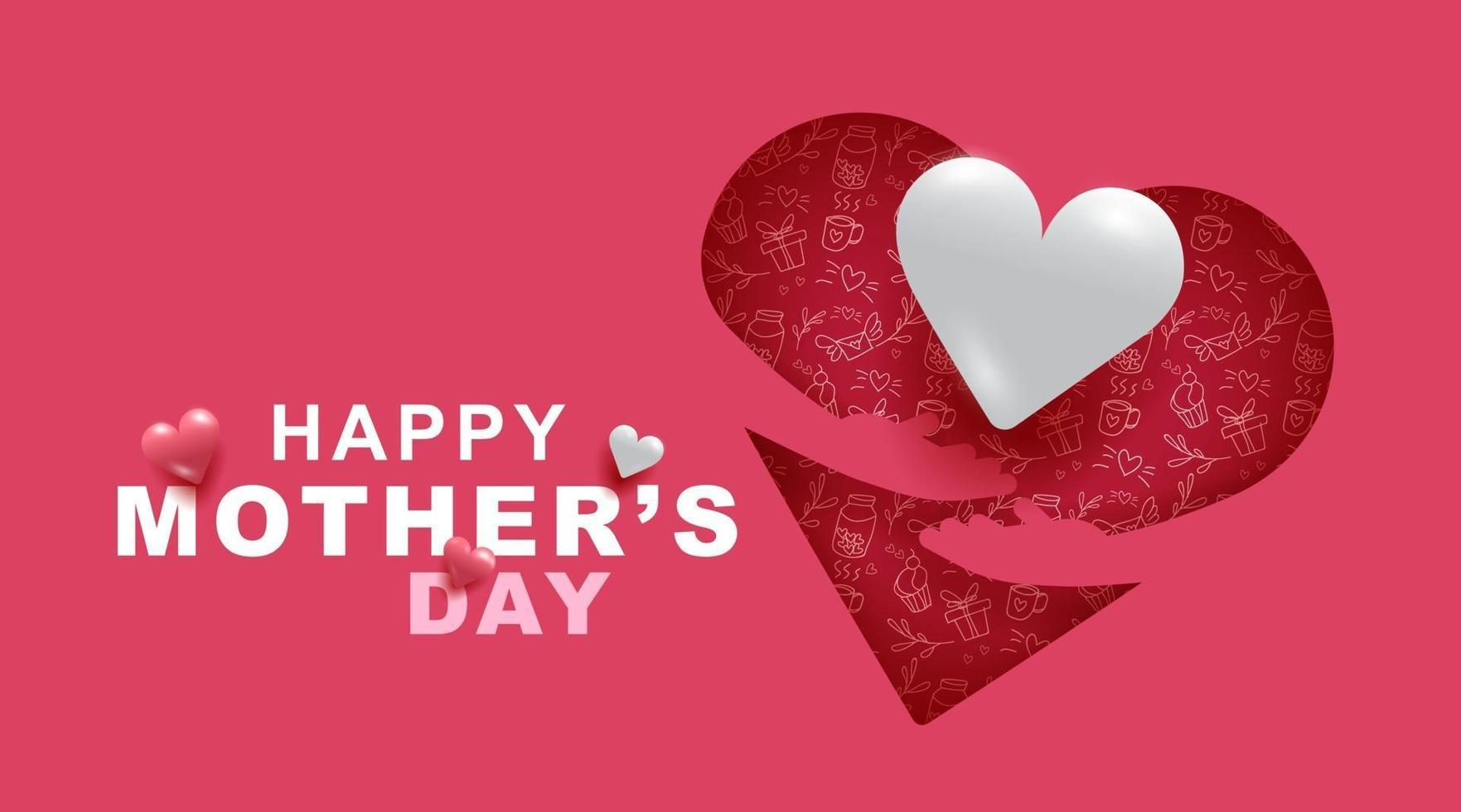 Mothers day greeting card with Heart and love pattern and pink color background vector