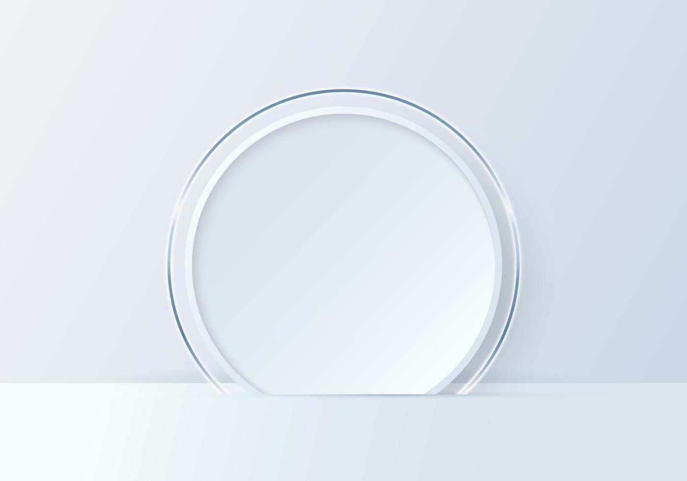 3D illustration mockup white circle shape and ring backdrop on clean background vector