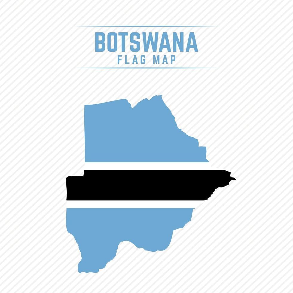 Flag Map of Botswana vector