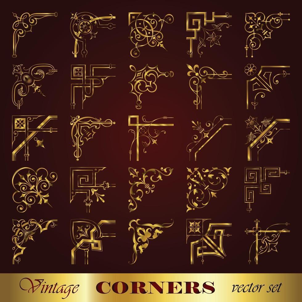Borders with corner elements set 2 vector