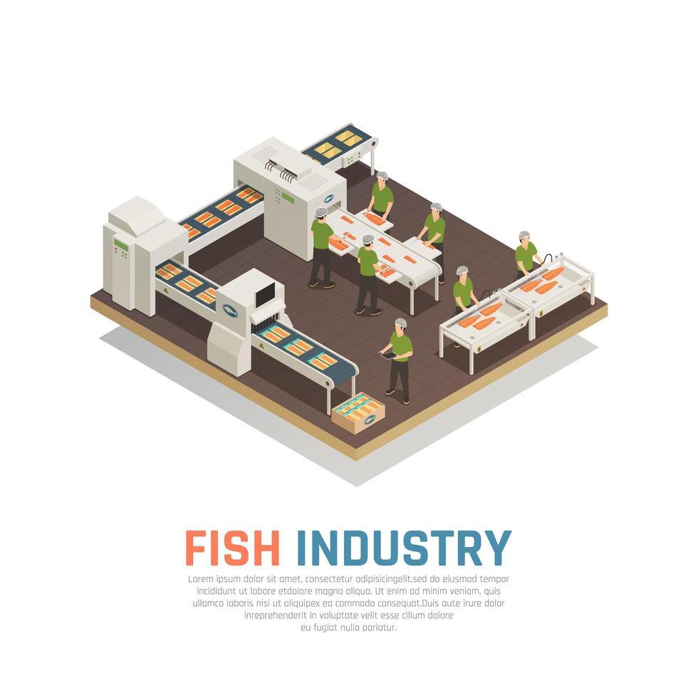 Fish Factory Isometric Background Vector Illustration