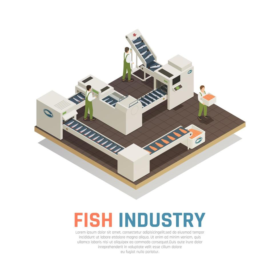 Sea Food Production Background Vector Illustration