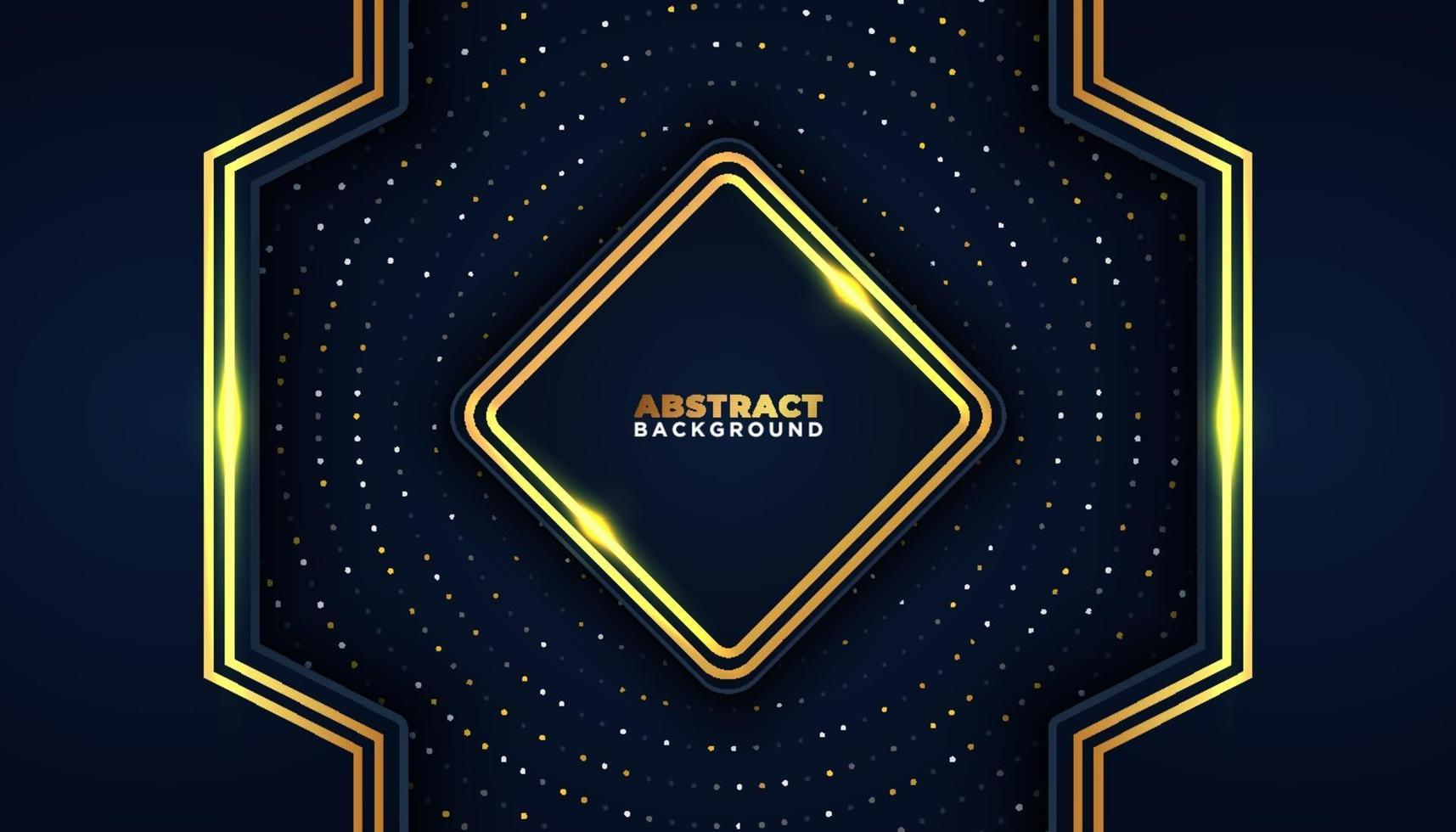 Dark abstract background with overlap layers golden glitters dots element decoration Luxury design concept vector